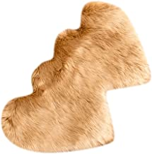 2pcs Heart Shaped Faux Sheepskin Sofa Cover Seat Pad Shaggy Area Rugs for Bedroom Floor - Camel