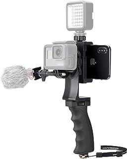 2 en 1 Cámara + Kit de video Teléfono Agarre manual Estabilizador Mango Montaje Youtube Livestream Soporte Vlog Rig Compatible para GoPro Sony DJI OSMO Action + Phones + Camera