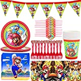 SUNSK Vajilla para Fiestas Cumpleaños Supplies Set Super Mario Desechable Plato Papel Servilleta Tenedor Taza Mantel para Mario decoración de Fiestas 62 piezas
