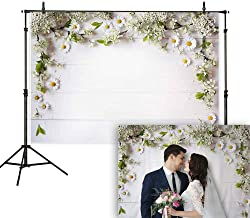 Allenjoy 7x5ft White Flowers and Wood Backdrop Floral Rustic Wedding Photography Background Wooden Board Photo Studio Props Shower Bridal Baby Birthday Party Decorations Cake Table Banner