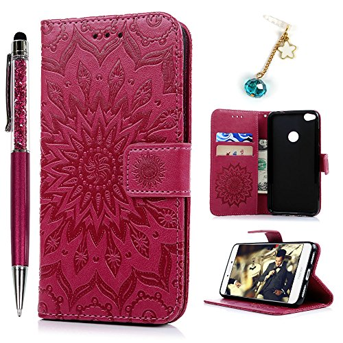 Funda Huawei P8 Lite 2017, Funda Libro de Cuero Impresión de Girasol, Wallet Case Flip Cover con TPU Case Interna, Soporte Plegable (Funda Rosa roja + Lápiz Capacitivo + Enchufe Anti del Polvo)