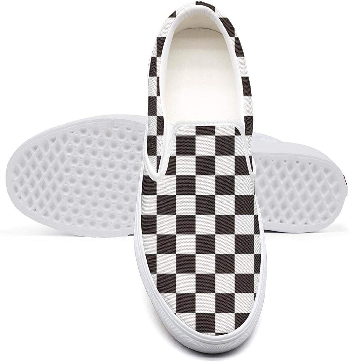 Vosda Checkerboard Hounds Tooth in Red and Black Classic Women Canvas Slip-On shoes Sneaker