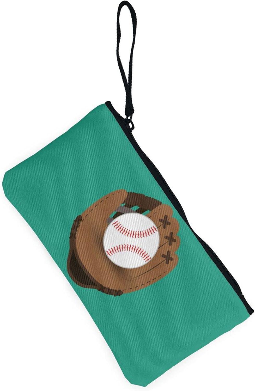 AORRUAM Baseball green Canvas Coin Purse,Canvas Zipper Pencil Cases,Canvas Change Purse Pouch Mini Wallet Coin Bag