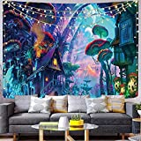 Qchengsan Psychedelic Mushroom Tapestry,Forest Wall Decor Tapestries,Trippy Colorful Abstract Pattern Tapestry, Magic Land Tapestry,Wall Hanging for Bedroom Living Room Dorm(78x59 inch, 10)