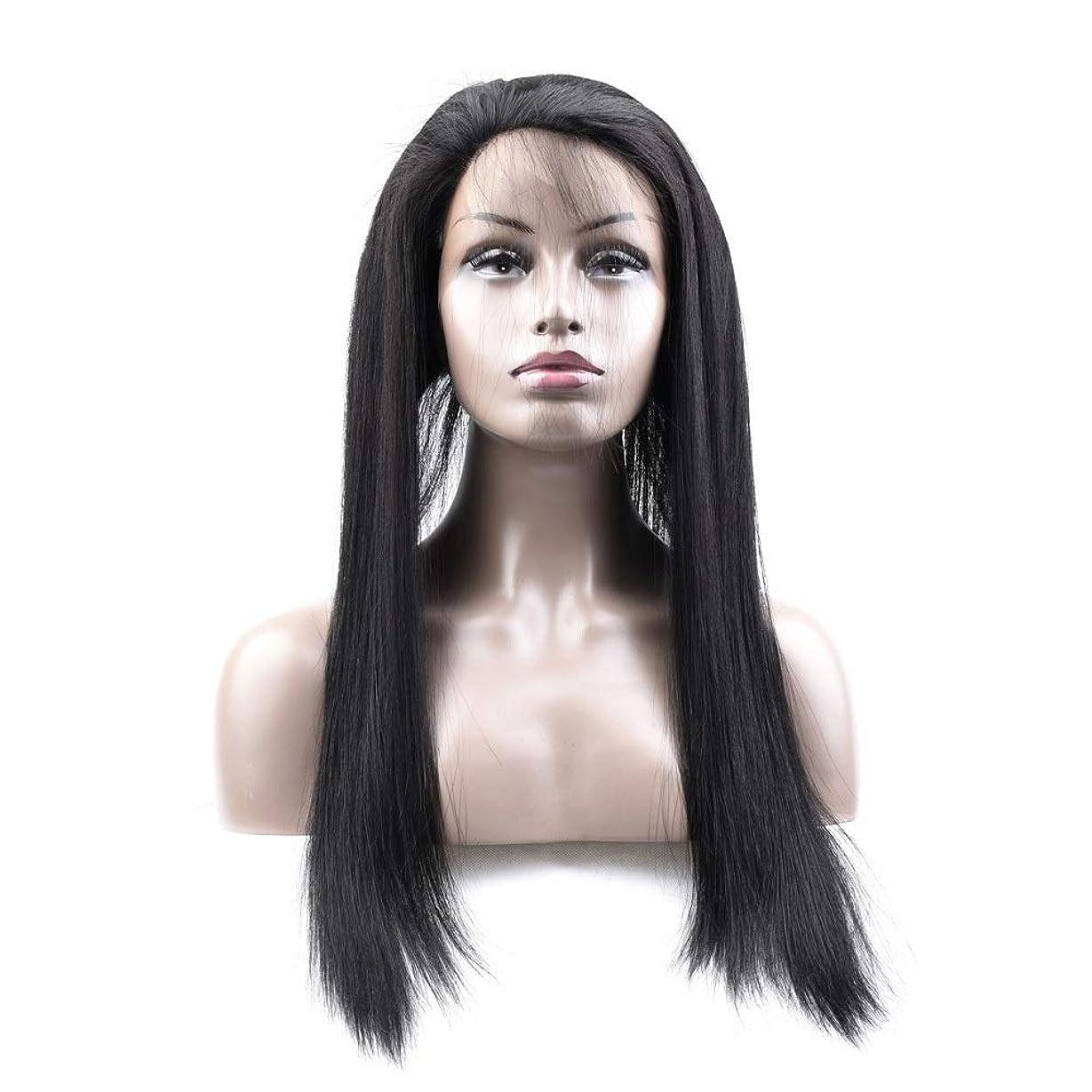 クラウドニュース前部HOHYLLYA ブラジル360前頭ストレートナチュラルヘアレース前頭閉鎖ストレート人間の髪1Bナチュラルカラーロールプレイングかつら女性のかつら (色 : 黒, サイズ : 14 inch)