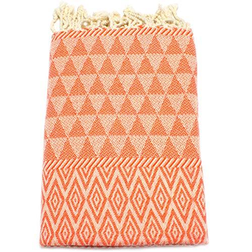 ANNA ANIQ Fouta Hamamtuch Strandtuch Saunatuch XXL Extra Groß 100x200 cm - (Diamant Muster) - 100% Baumwolle, Bade-Tuch, Picknick-Decke, Yoga, Pestemal, Strand-Handtuch (Orange)