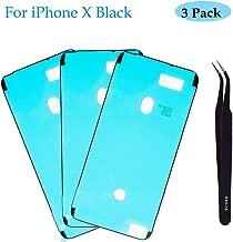 Ogodeal Screen Adhesive Strips Pre-Cut Waterproof Seals for iPhone X, Water Liquid Damage Repair Glue Replacement 3Pack (Black)