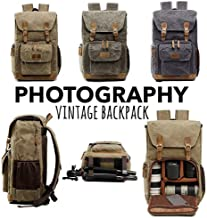 Hot Premium Vintage Photography Backpack Waterproof Photography Canvas Bag (Gray, Inner Size:10X5.5X7.8;External :11.8X7.4X16.53inch)
