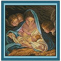 クロスステッチキット DIY 手作り刺繍キット マルチストランド綿糸ニットクロスステッチ刺繍キット- 子供の誕生48x48cm(フレームレス)