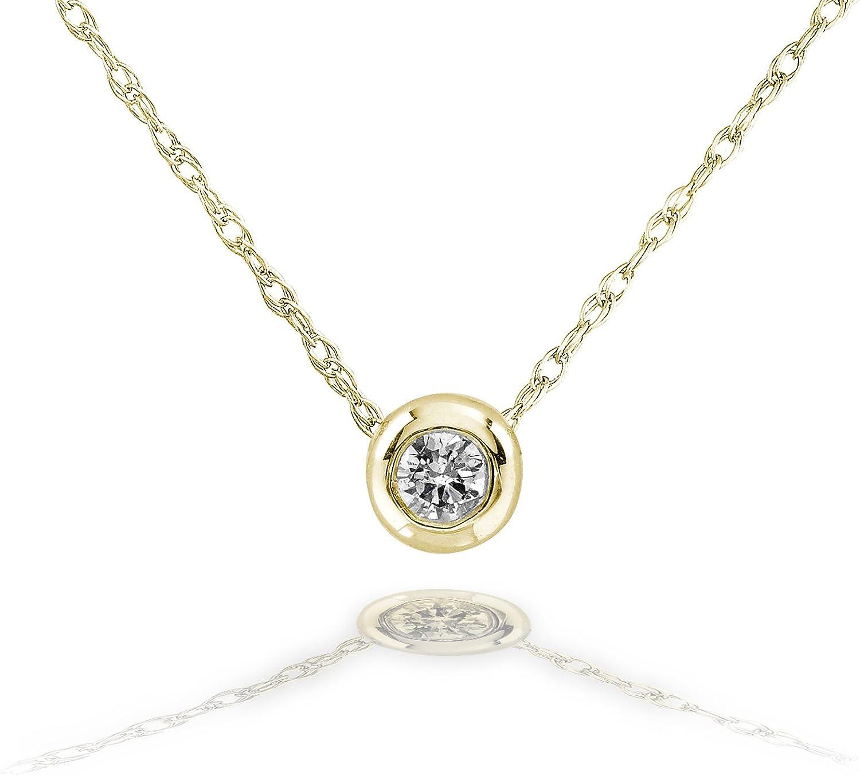 Kobelli Tiny Diamond Solitaire Bezel Necklace in 14k Gold (18