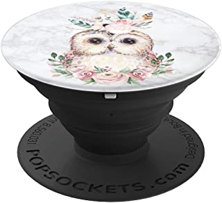 Owl On Marble Flowers Watercolor Floral by Nature Magick - PopSockets Grip and Stand for Phones and Tablets