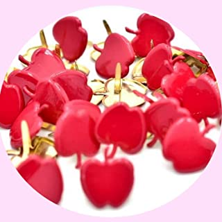 Lilie Créa Pack de 50 brads Pommes Rouges, Attaches parisiennes Fruits 15 mm, brads Scrapbooking