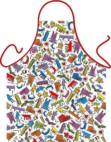 Grill-Schürze Italien Design Fun Koch-Schürze Küchen-Schürze geil bedruckt Geschenk-Set mit Grillermeister Urkunde