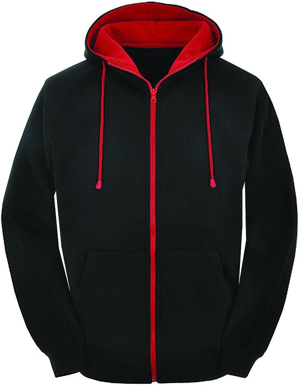 Mens Plain Colour Zip Up Hoodie Hooded Jacket Fleece Sweatshirt Hoody Jumper Top