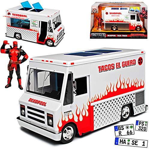 Deadpool Taco Truck Marvel mit Figur Transporter 1/24 Jada Modell Auto mit individiuellem Wunschkennzeichen