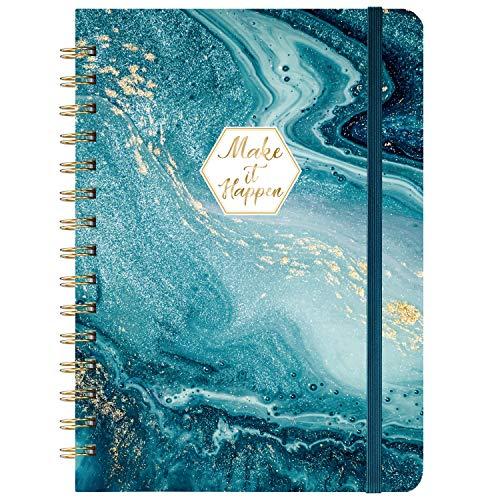 """Carnet/Journal ligné - Journal ligné avec couverture rigide et papier épais de qualité supérieure, 8,5""""x 6,5"""", carnet/journal à spirale à règle, reliure solide à deux fils, poche arrière"""
