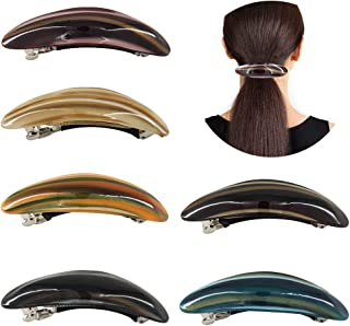 Yeshan Women Barrettes for thick hair with Tortoise Shell Strip colors Acrylic French Hair clips for Ladies,Pack of 6