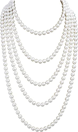 Cizoe 1920s Pearls Necklace Fashion Faux Pearls Gatsby Accessories Vintage Costume Jewelry Cream Long Necklace for Women