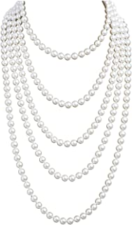 1920s Pearls Necklace Fashion Faux Pearls Gatsby Accessories Vintage Costume Jewelry Cream Long Necklace for Women