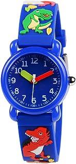 Venhoo Kids Watches 3D Cute Cartoon Waterproof Silicone Children Wrist Watches for Boys Little Child-Blue Dinosaur