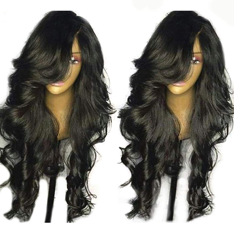 隣接ハンディペイントYrattary かつら女性の長い巻き毛の大きな波黒フロントレースかつらヘッドギア合成髪レースかつらロールプレイングかつら (色 : 黒, サイズ : 18 inches)