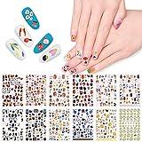 EBANKU 12pcs Nail Art Stickers Pegatinas autoadhesivas para uñas emoticon de flor de graffiti de verano diseño de uñas Para mujeres niñas decoración de uñas