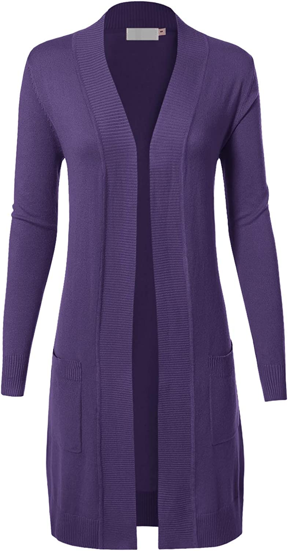 MAYSIX APPAREL Long Sleeve Long Line Knit Sweater Open Front Cardigan W/Pocket for Women (S-3XL)