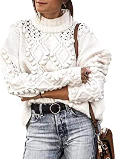 Zandiceno Women's Cute Oversized Turtleneck Hollow Sweater Knit Warm Jumper Pullover