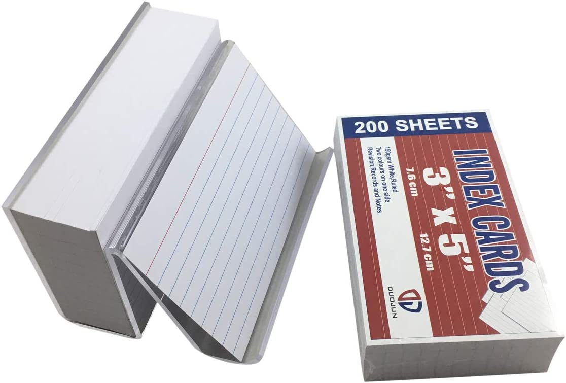 Index Cards with Acrylic Holder per White Pack 3