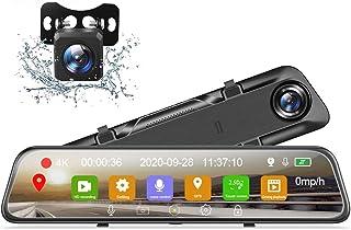 Car Dash Cam, 1080P Dash Cam Vorder  und Rückkamera 12'Touchscreen Rückspiegel mit Nachtsicht Rückfahrkamera, Unterstützung der GPS Sprachsteuerung, 2,5K HD Aufnahme, GPS Tracking, Parkassistent
