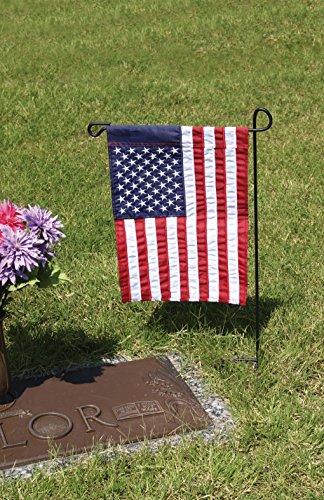 "Evergreen Flag Black Iron Cemetery Garden Flag Stand - 15""W x 28""H"