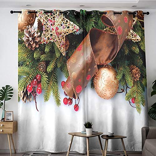 Christmas Kids Curtain Pine Cones with Garland Tree Topper Star Mistletoe and Swirled Ornate Elements Multicolor 72'x96',Blackout Draperies for Bedroom Living Room