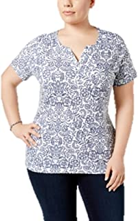 8f64d62e35e Karen Scott Plus Size Printed Henley T-Shirt in Intrepid Blue