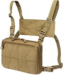 WYNEX Recon Kit Bag, Tactical Combat Chest Pack Molle Vest Bags Front Pouch Camouflage Airsoft Harness Holster Multi-Purpose Daypack Concealed EDC Carry Pouch with Basketball Pattern Hook and Loop Pan