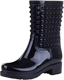 Jamron Womens Stylish Chunky Heel Mid-Calf Outdoor Snow Rain Boots Slip On Wellington Boots with Punk Style Studs
