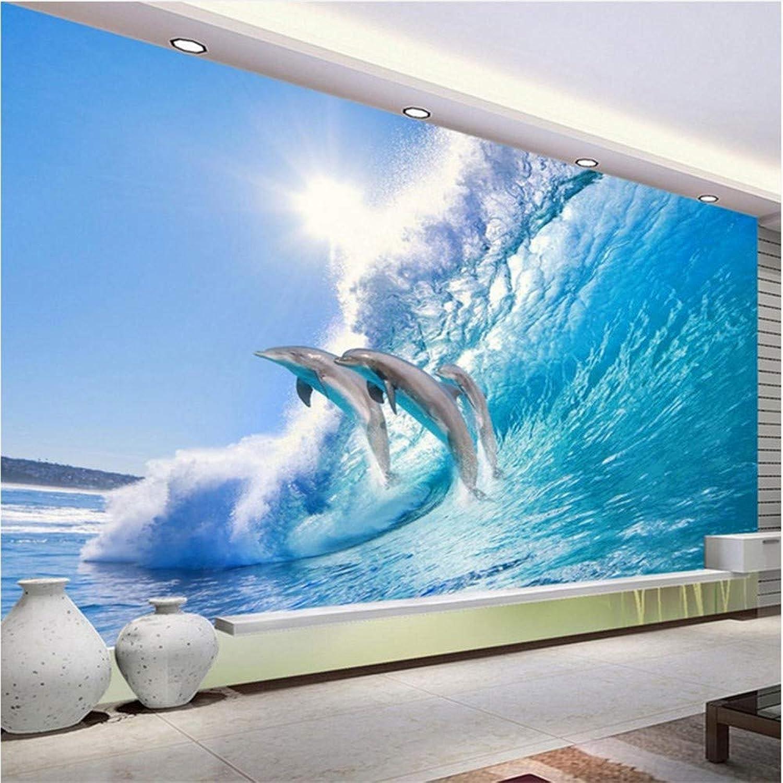 Qwerlp Photo 3D Papier Peint Ocean World Dauphin Tv Fond Décorations Murales Salon Chambre Décor à La Maison Papier Peint