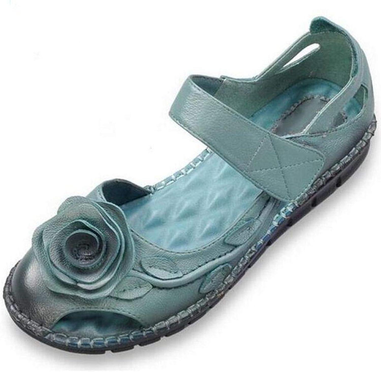 På damernas glid på platta skor mjukt handgjort Retro sommar Sandals Casual Nonseble Footwear