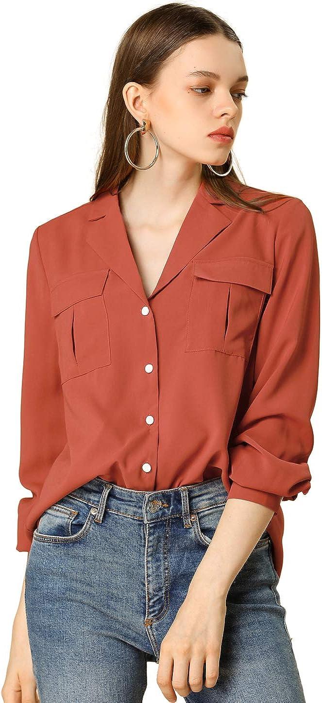 Allegra K Women's Solid Color Button Down Shirt Work Shirt Notch Lapel Collar Top