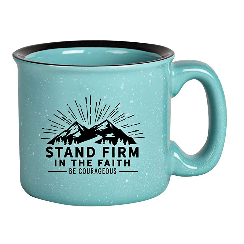 Dexsa Campfire Ceramic Coffee Mug with Inspiring Quote - Aqua Speckled Classic Coffee Cup   Holds 15 Ounces   What if You Woke up Today with only What You Thanked God for Yesterday?