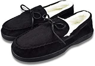 Men's Microsuede Slippers Plush Lining Moccasins with Memory Foam Slip On Indoor Outdoor Shoes