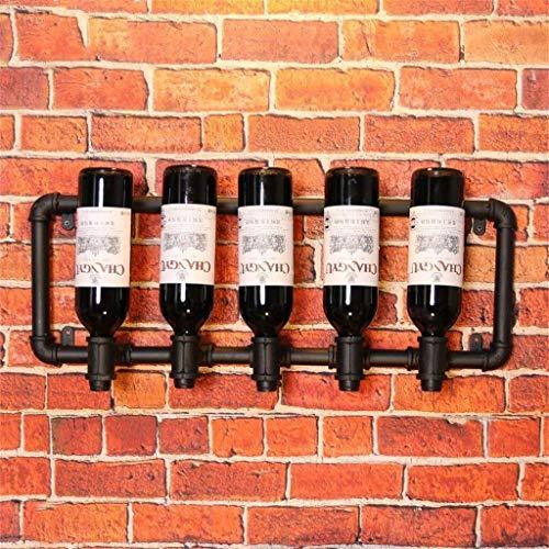 Cuisine Mural Porte-bouteilles Décoration Crémaillère Vin Noir Bar Café Casier À Vin En Cave À Vin De Restaurant Porte-bouteilles De Tube Métallique (68x24cm)
