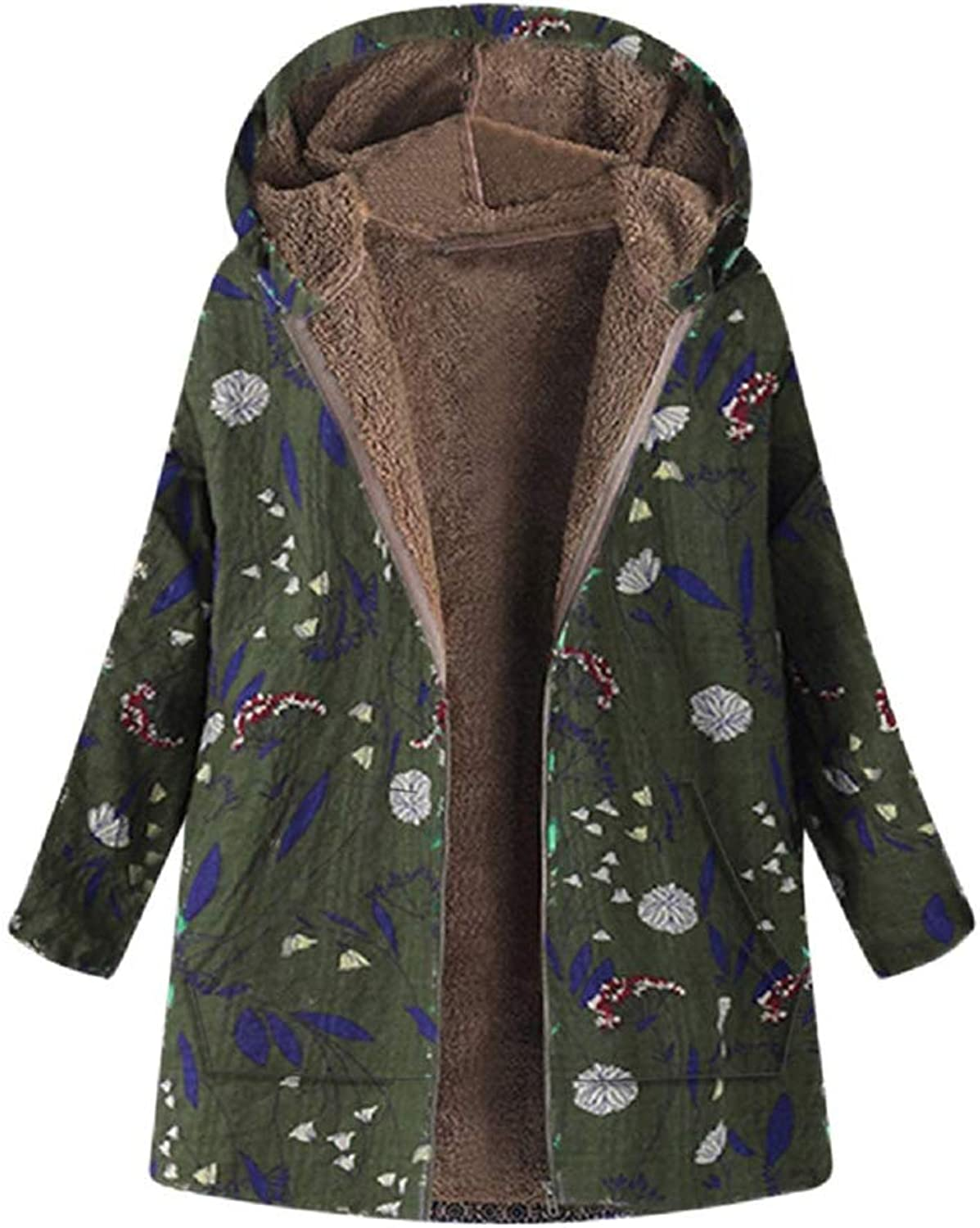 Cloudless Womens Winter Warm Outwear Floral Print Hooded Pockets Vintage Oversize Coats