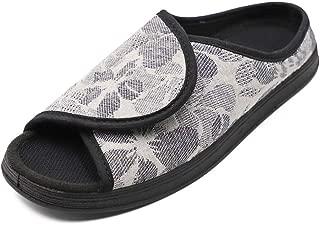 Mwfus Women's Slippers with Hard Rubber Sole Wide Width House Shoes Open Toe Sandals for Diabetic Arthritis Edema Swollen Feet Indoor/Outdoor