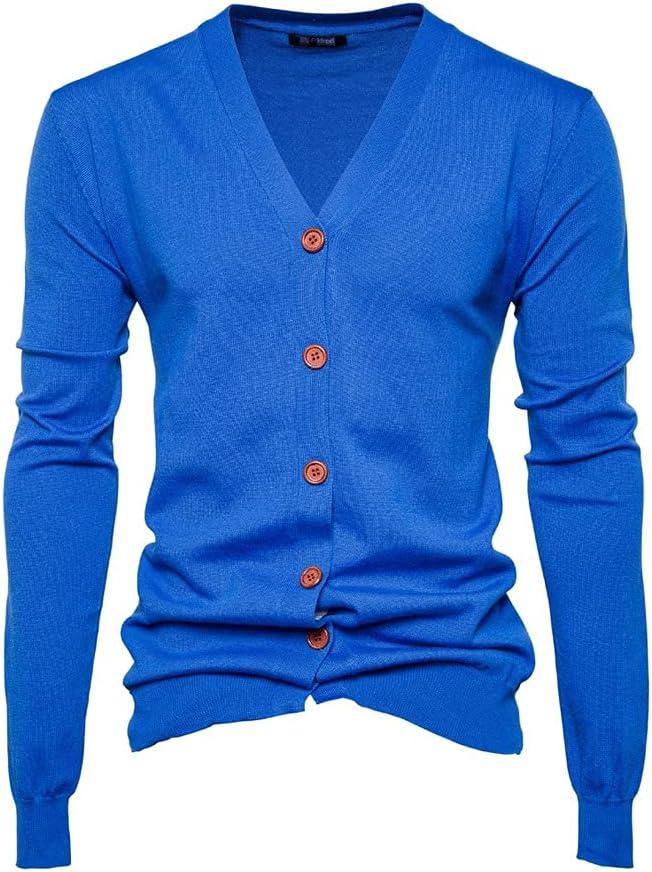GELTDN Knitted Sweater Men Long Sleeve Oversized Sweater Cardigan Knitwear Thin Slim Fit Male (Color : Blue, Size : XL Code)