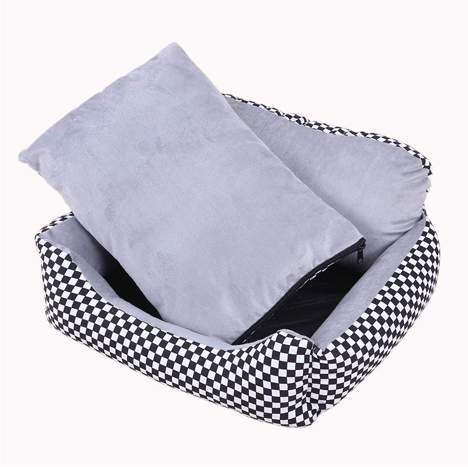 Pet Dog BedBest Friends Portable Kennel Indoor Outdoor Sofa Bed Four Seasons Universal Removable and Washable Pets, M+ Blanket + Bones, Black and White