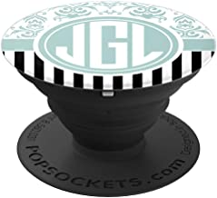 JGL Monogram Gift Blue Damask Initials JGL or JLG PopSockets Grip and Stand for Phones and Tablets