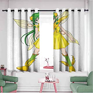 KAKKSW Kids Curtains, Home Bedroom Wall Decorations, Fantasy Illustration of a Fairy Girl in a Yellow Dress Japanese Manga, 55