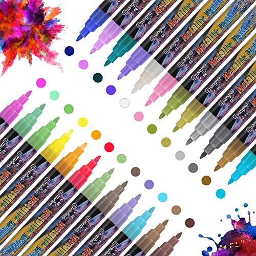 Vegena Metallic Marker Stifte Set, 24 Farben Premium Paint Marker Pens Wasserfest Permanent für Fotoalbum Kartenherstellung DIY Hochzeit Papier Glas Stein Felsmalerei Keramik Ostergeschenke(0.7MM)