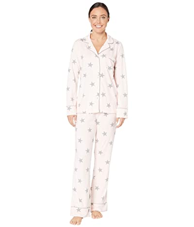 Splendid Pillowsoft Notch Collar PJ Set (Crystal Pink Stars) Women