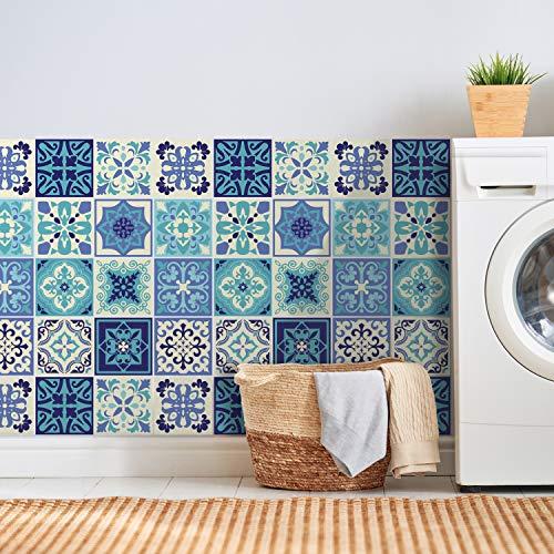 Walplus Daliah Azul Y Turquesa Mediterráneo Azulejo Set de Pegatinas - 15 X 15CM (6 X 6 IN) - 24 Piezas, Bricolaje Arte, Decoraciones para el Hogar, Adhesivos, Decoración de Cocina, Baño Ideas